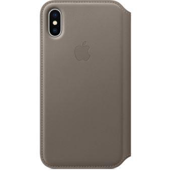 Étui folio en cuir Apple Taupe pour iPhoneX