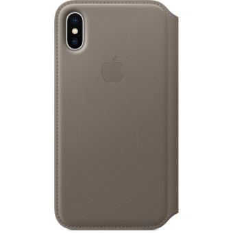 Étui folio en cuir Apple Taupe pour iPhone X