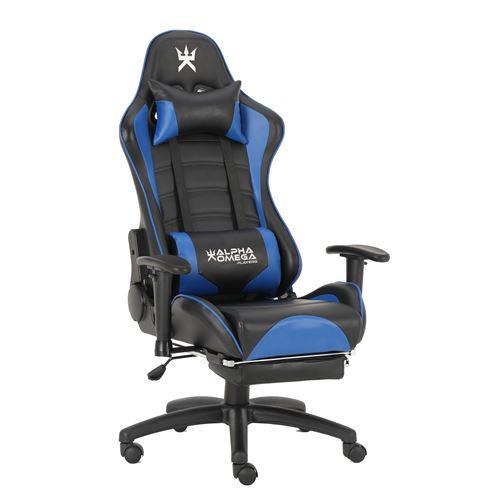 Chaise de bureau gaming Alpha Omega Players Impérium Noir et Bleu
