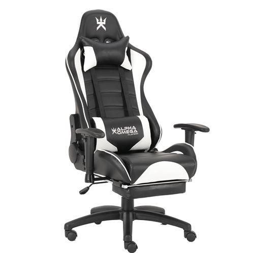 Chaise de bureau gaming Alpha Omega Players Impérium Noir et Blanc