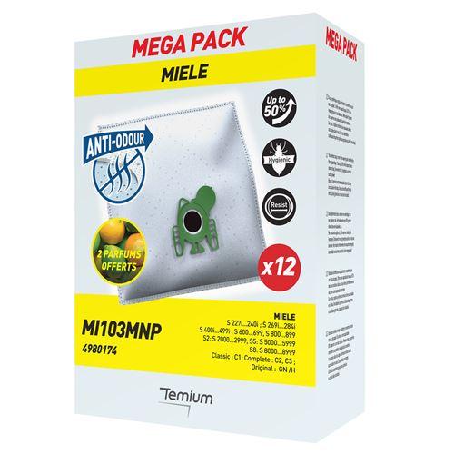 Pack de 12 sacs synthétiques pour aspirateur Temium et 2 parfums offerts