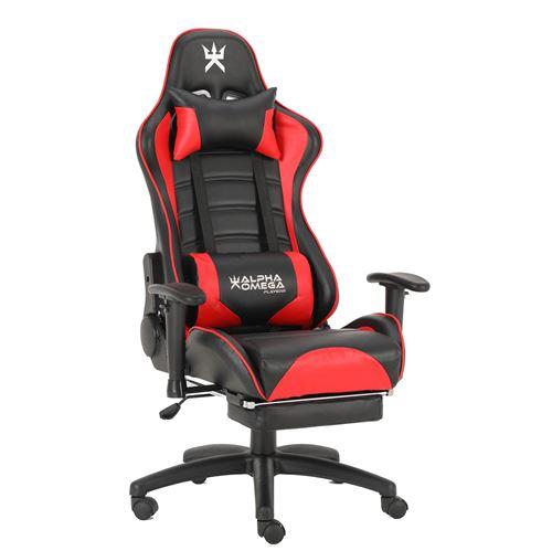 Chaise de bureau gaming Alpha Omega Players Impérium Noir et Rouge