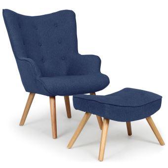 109 sur fauteuil scandinave pouf lylou tissu bleu achat prix fnac. Black Bedroom Furniture Sets. Home Design Ideas