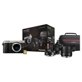 Pack Panasonic Lumix GX9 Hybride Behuizing Zilver + G Vario 12-32mm f/3.5-5.6 Mega O.I.S. Lens + G Vario 35-100mm f/4.0-5.6 Mega O.I.S Lens + G 25mm f/1.7 Lens + 16GB SD-Kaart + Draagtas