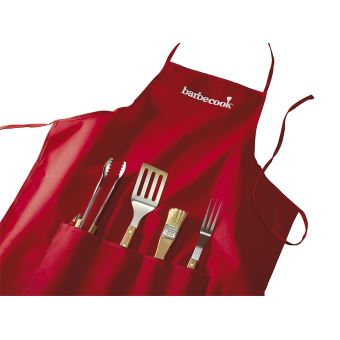Tablier avec 4 accessoires Barbecook Rouge