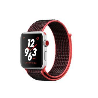 Apple Watch Nike+ Cellular 42 mm Boîtier en Aluminium Argent avec Bracelet Cramoisi Brillant Noir