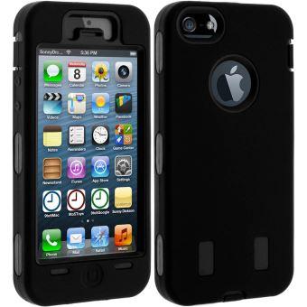 Coque iPhone SE 5 5S Protection Multi couches Tank Indestructible Noir