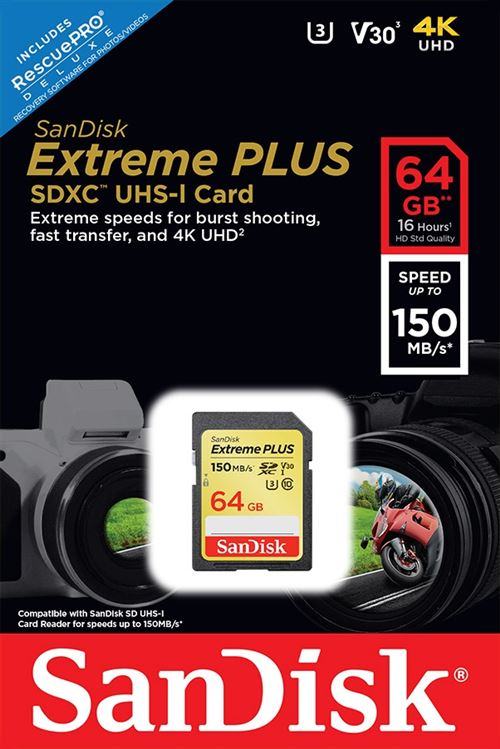 Carte mémoire SD SanDisk Extreme PLUS UHS-I V30 64 Go