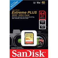 SanDisk SDXC Extreme Plus UHS-I V30 64GB Geheugenkaart