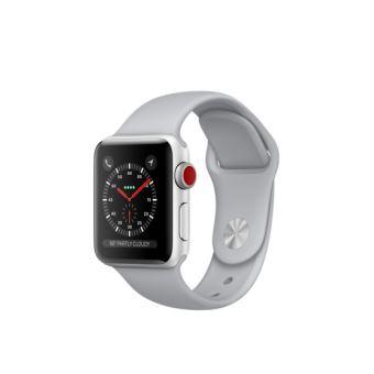Apple Watch Series 3 Cellular 38 mm Boîtier en Aluminium Argent avec Bracelet Sport Nuage