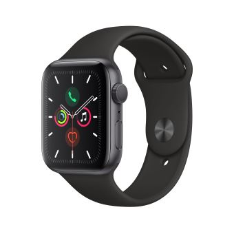 Apple Watch Series 5 GPS 44 mm Boîtier Aluminium Gris Sidéral avec Bracelet Sport Noir