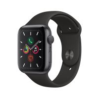 Apple Watch Series 5 GPS 44mm Behuizing Aluminium Space Gray met Sport Armband Zwart