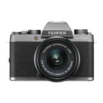 Hybride Fujifilm X-T100 Argent foncé + Objectif XC 15-45 mm f/3.5-5.6 OIS PZ