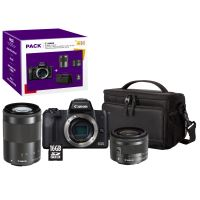 Pack Fnac Hybride Canon EOS M50 Noir + Objectif EF-M 15-45 mm f/3.5-6.3 IS STM + Objectif EF-M 55-200 mm f/4.5-6.3 IS STM Noir + Etui + Carte SD 16 Go