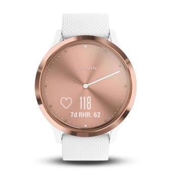 montre connect e hybride garmin vivomove hr or rose avec bracelet blanc taille s et m. Black Bedroom Furniture Sets. Home Design Ideas