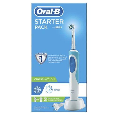 Brosse à dent électrique Oral B Vitality Starter Pack Cross Action avec 2 têtes de brosse Blanc et Bleu