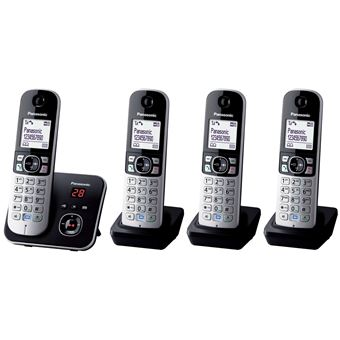 T l phone fixe sans fil panasonic kx tg6824frb quattro t l phone sans fil - Telephone fixe sans fil longue portee ...
