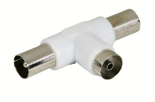 Fiche T coaxiale Temium 1 port Femelle 9.52 mm et 2 ports Mâle 9.52 mm
