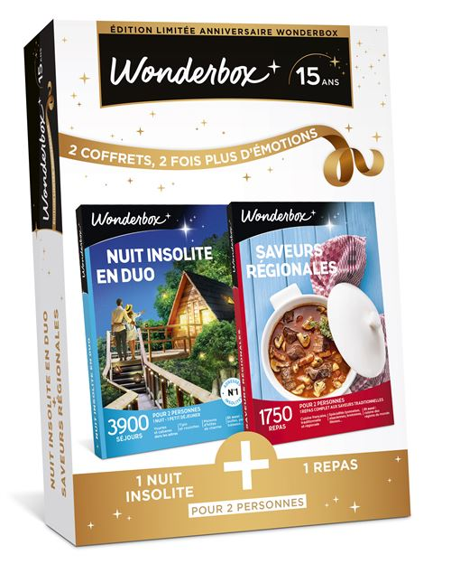 Coffret cadeau Wonderbox Bipack Nuit insolite en duo Saveurs...