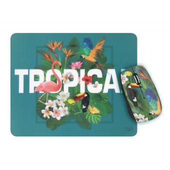 Ensemble souris sans fil et tapis de souris T'nB Exclusiv' Series Design Tropical