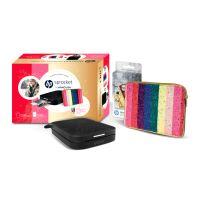 Pack Imprimante Photo HP Sprocket 200 Noir Manoush + 1 pochette Manoush et 1 paquet de 20 papiers photos