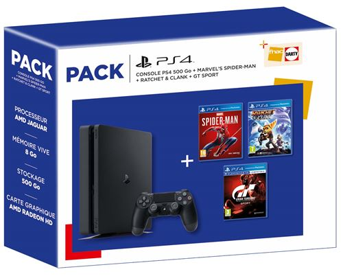 Fnac.com : Livraison gratuite dès 25 d'achat. Pack Fnac Console Sony PS4 500 Go Noir + Marvel's Spider-Man + Ratchet et Clank + GT Sport - Console de jeux. Pré-commandez, achetez et vendez vos jeux vidéo, consoles PS3, Wii, Xbox360, 3DS, PS Vita et access