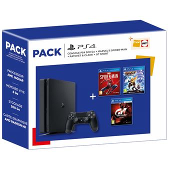 Pack Fnac Console Sony PS4 500 Go Noir + Marvel's Spider-Man + Ratchet et Clank + GT Sport