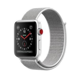 Apple Watch Series 3 Cellular 38 mm Boîtier en Aluminium Argent avec Boucle Sport Coquillage