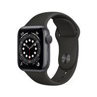 Apple Watch Series 6 GPS, 40 mm kast van zilverkleurig aluminium met zwarte sportband