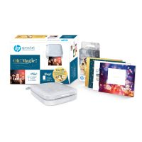 Pack Imprimante Photo HP Sprocket 200 Gris + 1 kit de 6 cartes à personnaliser, 1 planche de stickers et 20 papiers photos