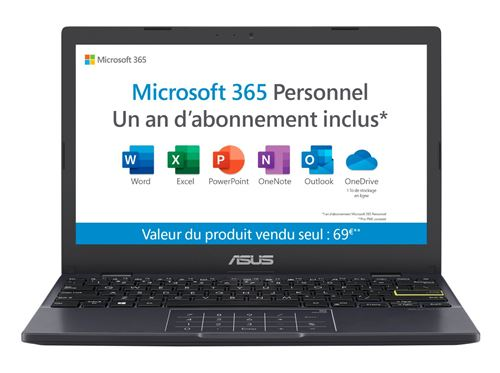 "PC Ultra-Portable Asus E210MA-GJ106TS 11.6"" Intel Celeron 4 Go RAM 64 Go eMMC Noir étoile"