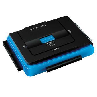 """Adaptateur USB 2.0 Vivanco pour disque dur SATA interne 2.5""""/3.5"""" Noir et Bleu"""