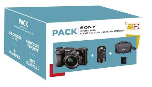 Pack Fnac Hybride Sony Alpha A6000 + Objectifs 16-50 mm + 55-210 mm + Carte Mémoire SD 16 Go + Fourre-tout