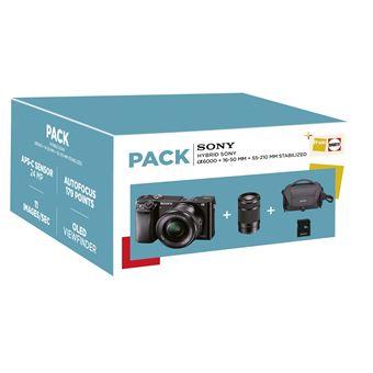 Fnac Pack Sony Alpha A6000 Hybride Behuizing Zwart + 16-50 mm Lens + 55-210 mm Gestabiliseerd + Opbergtas + 16GB SD-Kaart