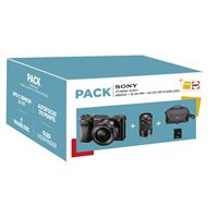 Pack Fnac Hybride Sony A6000 Boîtier Nu Noir + Objectifs 16-50 mm + 55-210 mm Stabilisé + Fourre-tout + Carte mémoire SD 16 Go