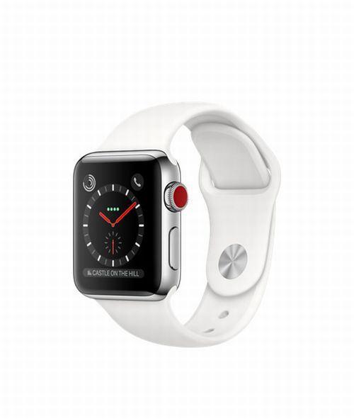 Fnac.com : Apple Watch Series 3 Cellular 38 mm Boîtier en Acier inoxydable avec Bracelet Sport Blanc coton - Montre connectée.