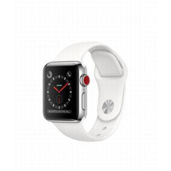 Apple Watch Series 3 Cellular 38 mm Boîtier en Acier inoxydable avec Bracelet Sport Blanc coton