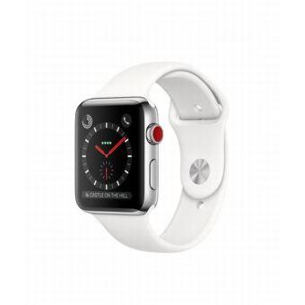 Apple Watch Series 3 Cellular 42 mm Boîtier en Acier inoxydable avec Bracelet Sport Blanc coton