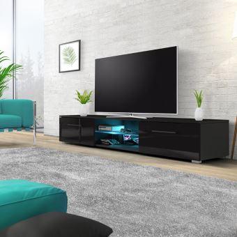 Meuble tv banc tv edith 140 cm noir mat noir brillant avec led style moderne - Meuble tv noir mat ...