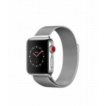 Apple Watch Series 3 Cellular 38 mm Boîtier en Acier inoxydable avec Bracelet Milanais