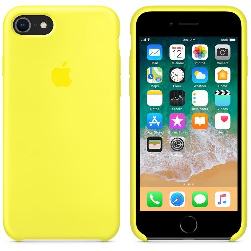 Coque en silicone Apple Jaune flashy pour iPhone 7 et 8
