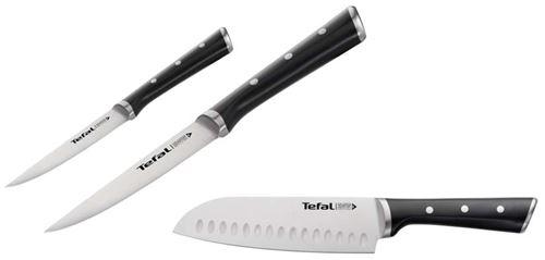 Pack de 3 couteaux Tefal Ingenio Ice force Gris et Noir
