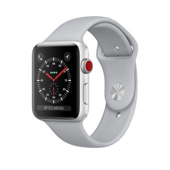 Apple Watch Series 3 Cellular 42 mm Boîtier en Aluminium Argent avec Bracelet Sport Nuage