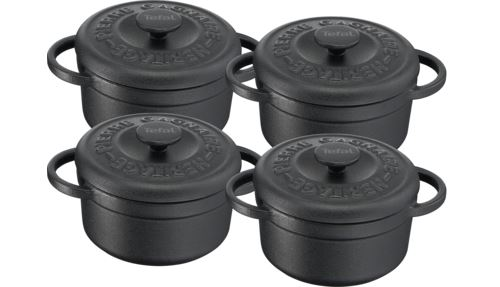 Set 4 mini cocottes fonte d'acier rondes 10 cm Tefal Pierre Gagnaire Heritage Noir