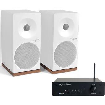 Pack Tangent Enceintes Spectrum x4 Blanches + Amplificateur Ampster Bluetooth Noir