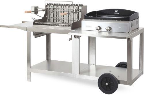 Barbecue américain et plancha à gaz Le Marquier Mixte Mendy-Alde Baia Inox MIVMI 5400 W Gris