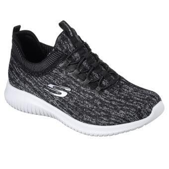 e2cdd9f335b Chaussures Femme Skechers Ultra Flex Bright horizon Noires et Grises Taille  36