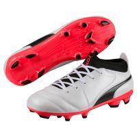 Chaussures de football Enfant Puma One 17.3 FG Blanches. noires et rouges Taille 36