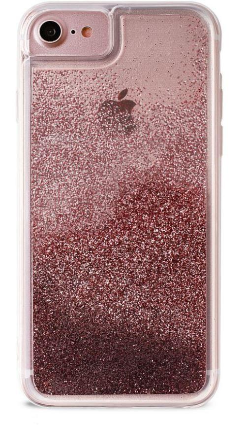 Coque semi-rigide Puro Or Rose avec liquide Pailletté Rose Gold pour iPhone 6, 6s, 7 et 8