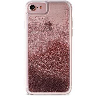 Coque semi rigide Puro Or Rose avec liquide Paillette Rose Gold pour iPhone 6 6s 7 et 8